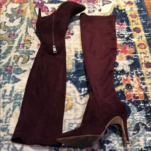 Joie Suede Over The Knee Cranberry Heeled Boots